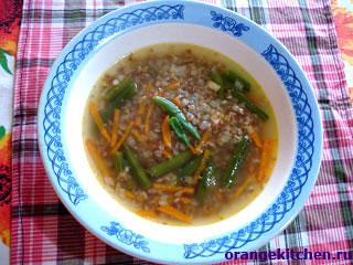 Рецепт вегетарианского гречневого супа с фасолью