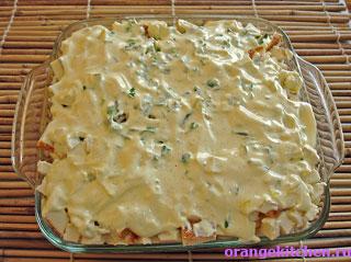 Картофельная запеканка с адыгейским сыром в процессе приготовления