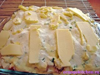 Все слои картофельной запеканки с адыгейским сыром
