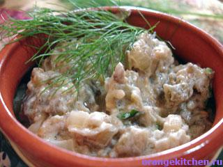 Вегетарианский жульен из баклажанов
