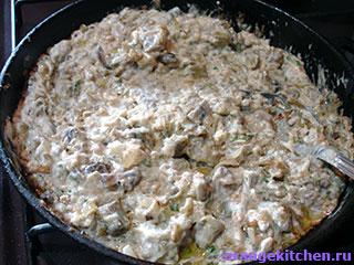 Готовый вегетарианский жульен с баклажанами