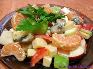 Вегетарианские рецепты с фото: салат с мандаринами