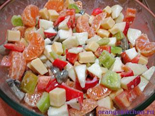 Вегетарианский рецепт салата с мандаринами