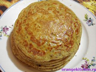 Вегетарианский рецепт тыквенных блинов на сыворотке без яиц