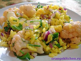Вегетарианские салаты: салат из цветной капусты с рисом