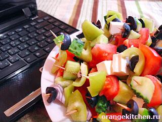 Рецепт вебмастера — Греческий салат на зубочистках