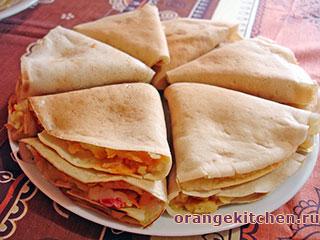 Вегетарианские рецепты с фото: Постные блины с картофельной начинкой