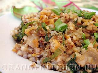 Вегетарианские рецепты с фото: гречка с шампиньонами и шпинатом