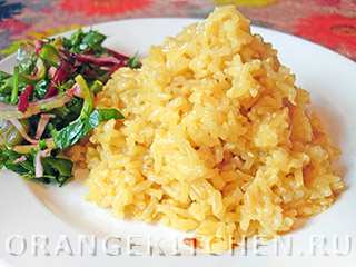 Вегетарианские рецепты с фото: лимонный желтый рис