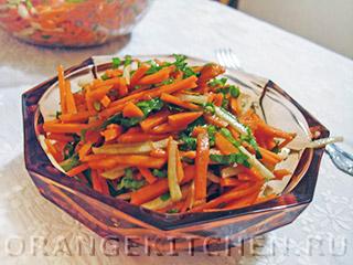 Салат из свежей тыквы с дайконом