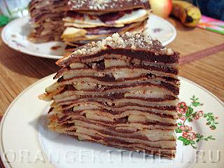 Вегетарианский рецепт шоколадного блинного торта