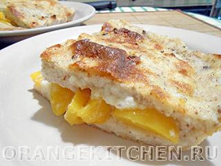 Вегетарианские рецепты с фото: запеканка из манной каши с персиками