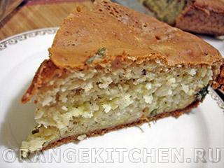 Вегетарианские рецепты с фото: пирог с рисом на кефире