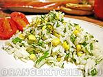 Вегетарианские салаты: рисовый салат с кукурузой