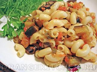 Вегетарианские рецепты с фото: макароны с баклажанами