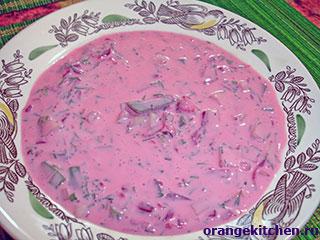 Литовский холодный кефирный суп