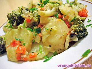Картофель с брокколи и горчицей