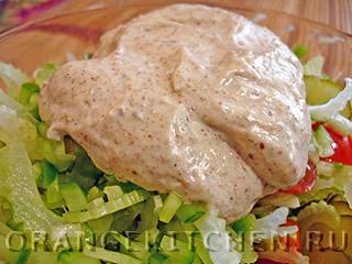 Постный майонез из льняной муки и легкий овощной салат