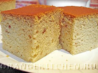 Ванильный кекс со сгущенкой без яиц
