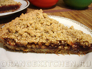 Овсяный пирог с яблочным повидлом