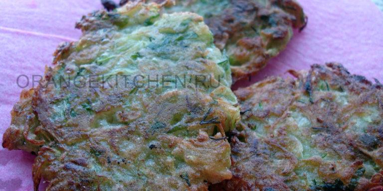 Кабачковые оладьи без яиц (несладкие)